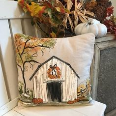 Painting of Old Barn Fall Wreath Fall Farmhouse Fall Leaves Personalized Fall Leaves Farmhouse Hand Painted Pillows Cover Autumn Crafts, Thanksgiving Crafts, Christmas Crafts, White Christmas, Christmas Holiday, Fall Canvas Painting, Autumn Painting, Farmhouse Paintings, Christmas Paintings