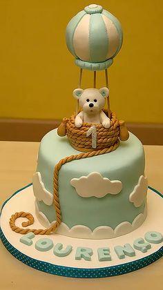 Baby boy birthday cupcakes ideas for 2019 Baby Cakes, Baby Birthday Cakes, Birthday Cake Kids Boys, Torta Baby Shower, Teddy Bear Cakes, Balloon Cake, Air Balloon, Cupcakes For Boys, Occasion Cakes