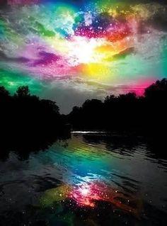 Midsummer Rainbow Sky Aurora Borealis, Norway