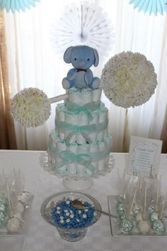 I DO invitations by michelle: Blue + White Baby Boy Shower #diaper #cake #rattle