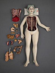 "the vastness of the human body. ""Surgery"" Worrydoll, Mixed Media, Renée Laferriere Cinderhouse, 2011."
