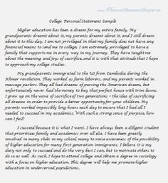 College admissions personal statement