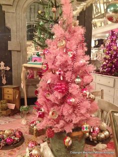 A Pink Christmas Tree Colorful Modern Gold