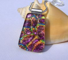 ** Purple Dichroic Fused Glass Pendant Jewelry @TremoughGlass