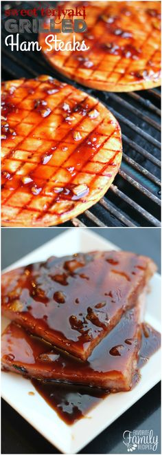 These Sweet Teriyaki Grilled Ham Steaks are perfect for if you are craving cooked ham, but don't want to purchase a huge spiral ham.