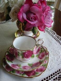 teacup and school roses by Meg Cards, via Flickr