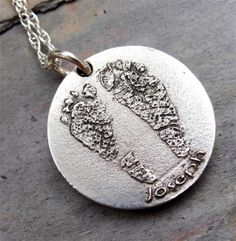 Custom Baby Footprint Pendant Sterling Silver : Etsy by rockmyworldinc