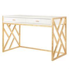 Worlds Away Cordelia White Lacquer & Gold Leaf Desk  Matthew Izzo