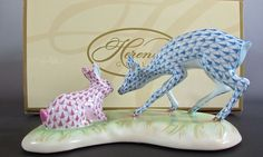 #Herend Porcelain Blue & Raspberry Fishnet Limited Edition #Fawn (Deer) and #Bunny  #Herend