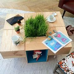 Id es salon on pinterest coat stands concrete stairs - Fabriquer table basse palette ...