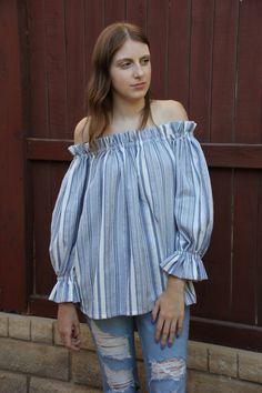 40714ec477 Blue Cotton Blouse - Blue and White Stripes Blouse - White Cotton Blouse - Women s  Casual Tops - Women s Fashions - Off the Shoulder Top