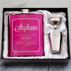 Our 7oz gloss pink hip flask is an ideal gift for the bridesmaids. A memorable keepsake that is sure to be well received. Choose from a wide range of engraving options to suit your style and theme. Gift set consists of a 7oz flask, funnel and 4 x shot glasses in a beautiful padded silk lined gift box. 7oz capacity and durable stainless steel construction. Full Gift Set Included #GiftwareDirect #maid of honour