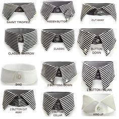 Men's collars. Different options should be considered for each man depending on which best suits his neck. Too often the collar is not considered carefully enough for the correct fit.