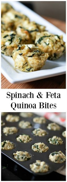 These little bite sized snacks are addictive! Full of all of your favorite ingredients and flavors - spinach, feta and quinoa - all in one bite!