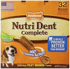Dog Bones - Nutri Dent Adult Filet Mignon 32 ct Medium Pantry Pack -- Check this awesome product by going to the link at the image. (This is an Amazon affiliate link)