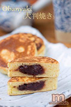 Ōban-yaki (大判焼き) ou Imagawa-yaki (今川焼き) (sorte de gaufre fourrée à la pâte d'azuki ou pâte de haricot blanc) Japanese Sweet, Japanese Food, Crepes And Waffles, Pancakes, Healthy Desserts, Dessert Recipes, Mononoke, Good Food, Yummy Food