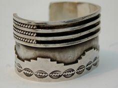 Vintage Navajo Cuff | Designer? ~ Signed W.S. Sterling silver.