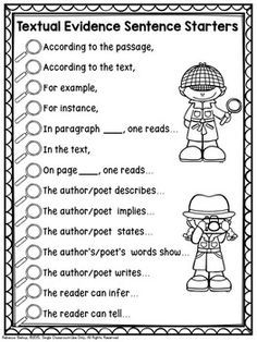 Textual Evidence Sentence Starters -an anchor chart that gives excellent textual evidence sentence starters to help students as they write constructed and extended responses Check out our Inference of the Day No Prep Printables and Introductory PowerPoint 3rd Grade Writing, Third Grade Reading, Second Grade, Grade 3, Sixth Grade, Reading Workshop, Reading Skills, Comprehension Strategies, Reading Comprehension