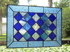 Stained Glass Panel Quilt Block Window  Cobalt Blue by ArtfulFolk, $69.95