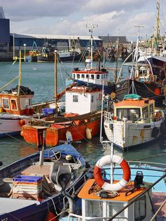 fisher's boats parked in the port of Howth, near of Dublin, Ireland