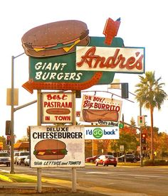 The legendary Andre's Giant Burgers iconic neon sign in Bakersfield, California. Old Neon Signs, Vintage Neon Signs, Old Signs, California History, California Love, Retro Signage, Bakersfield California, Restaurant Signs, Roadside Attractions