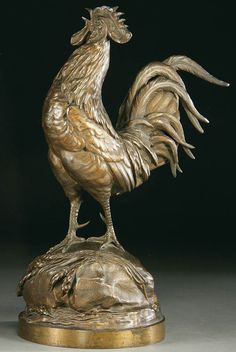 Auguste Nicolas Cain (French 1821-1894) A Crowing Rooster Bronze with dark brown patina Signed on base A. Cain
