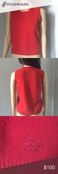 "Burberry Authentic Red Merino Wool Sweater Vest 100% Authentic Pre-owned, good condition  Approximate Measurements laying flat:  Chest: 18"" Length: 22"" Armhole: 10.5"" Burberry Jackets & Coats Vests"