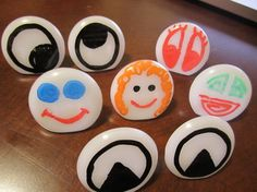 Use outlet covers and paint faces/eyes on them. Play with them in play dough! such a cute idea!