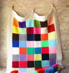 Vintage Color Block Crochet Throw