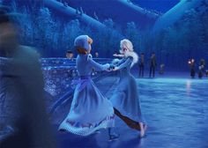 Elsa and Anna ice skating GIF - Olaf's Frozen Adventure