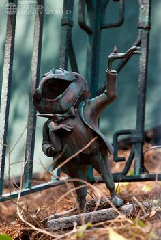 Mr. Toad's statue hidden deep inside Haunted Mansion's Cemetery at The Magic Kingdom.