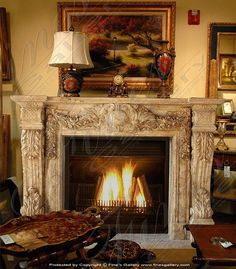 Marble Mantels | Fireplace Mantles | Marble Fireplaces | Hearths | Mantels | Custom Designed French Gold Calcium Mantel  French Gold Calcium Mantel  mfp-543