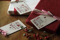 Pack 5 etiquetas Navideñas de Caixa de Mistos por DaWanda.com