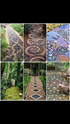 Love these mosaic stones for a garden path