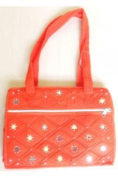 Ethnic Bag - Mirror Worked Hand Crafted Orange