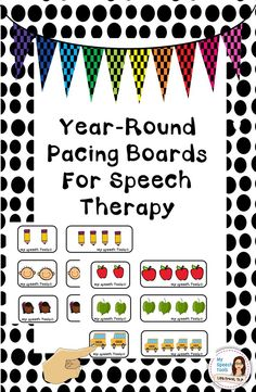 Pacing Boards for seasons and holidays during the school year. 3 different levels of complexity are provided. Use Pacing Boards with multiple speech goals. Read product description for ideas and activities using Pacing Boards.