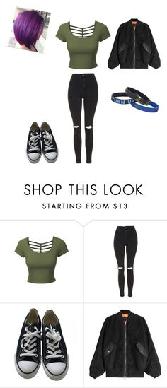 """""""actual outfit today"""" by swagserena ❤ liked on Polyvore featuring LE3NO, Topshop, Converse and Alexander Wang"""