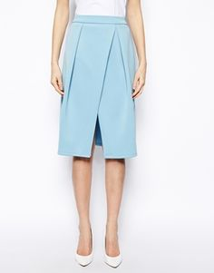 ASOS Midi Skirt with Crossover Front in Scuba $41.51