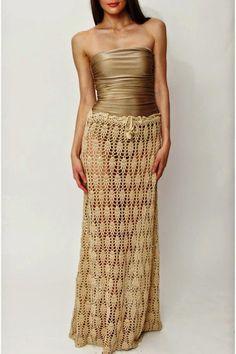 Ivelise Feito à Mão: Saia Longa (e vestido) Em Ponto Abacaxis