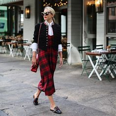 <now on the blog // the plaid slip dress. Having fun with layering now that the temps have dropped in NYC > #plaid #slipdress #fall #gucci