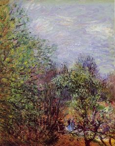 Two Women Walking along the riverbank  1880-1885 Paintings   Alfred Sisley paintings