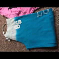"""Pink by Victoria Secret sweatpants Size Small """"Pink"""" loose sweatpants with elastic at bottom to roll them up; they are a pretty sea blue and fade up to a light blue; size small but runs big; only wore 2 times PINK Victoria's Secret Pants Track Pants & Joggers"""