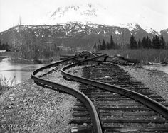 1964 alaska earthquake photos | bed and rail damage at Portage following the March 27 1964 earthquake ...
