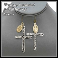 """Amazon.com: Silver Hammered Cross Earrings with Gold St. Mary Miraculous Medal. Fish Hook. Size 2.8"""" L.: Jewelry"""