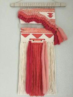 On sale& Coral and Ivory Woven Wall Hanging & Weaving Weaving Textiles, Weaving Art, Weaving Patterns, Tapestry Weaving, Loom Weaving, Hand Weaving, Weaving Wall Hanging, Tapestry Wall Hanging, Wall Hangings