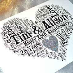 Personalised 25th Wedding Anniversary Love Sparkle Card