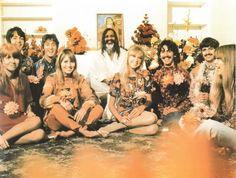 Paul McCartney, John Lennon, Maharishi, Jane Asher, Cynthia Powell-Lennon, Pattie Boyd-Harrison, George Harrison, Richard Starkey, and Jenny Boyd