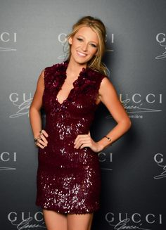 Blake Lively in a Oxblood Sexy Dress. #blake lively, #fashion icon, #style icon, #oxblood dress