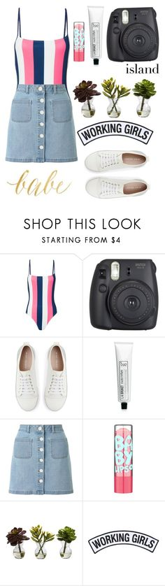"""""""Beach hair don't care🌊🐡🐠🐙"""" by jasmine-asher ❤ liked on Polyvore featuring Solid & Striped, Fujifilm, Mint Velvet, L:A Bruket, Miss Selfridge, Nearly Natural and Working Girls"""