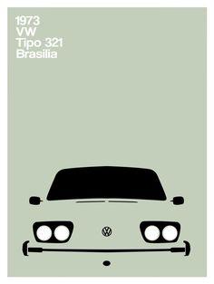 volkswagen brasilia minimal poster tipo 321